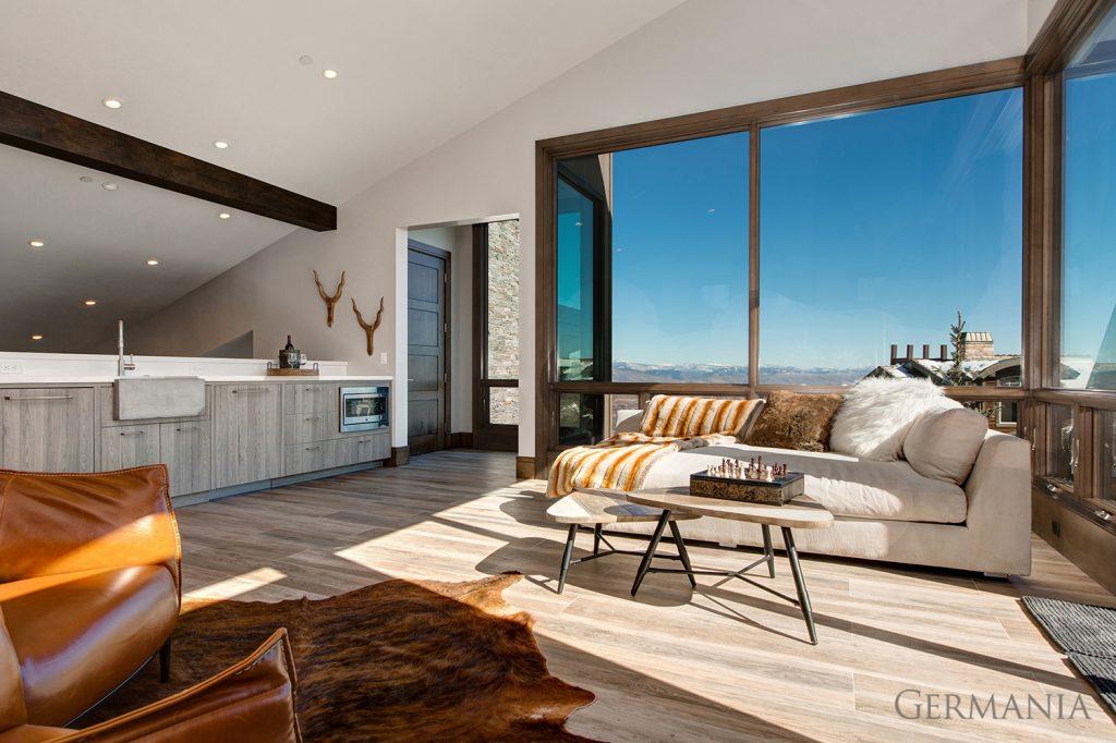 Custom contemporary home living room park city utah