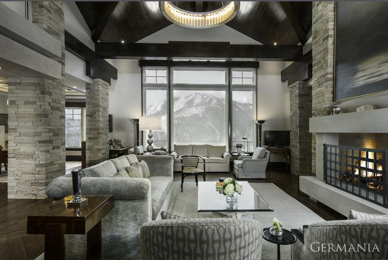 Custom home construction living room windows