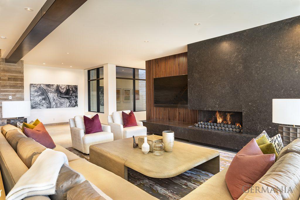 High end custom home living room park city