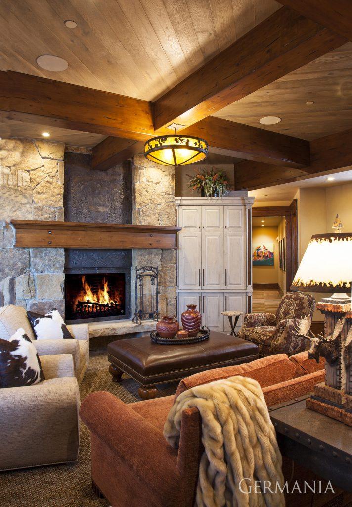 Custom contemporary home living room park city