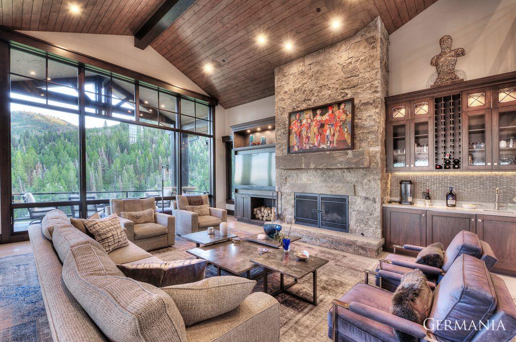 High end custom home living room